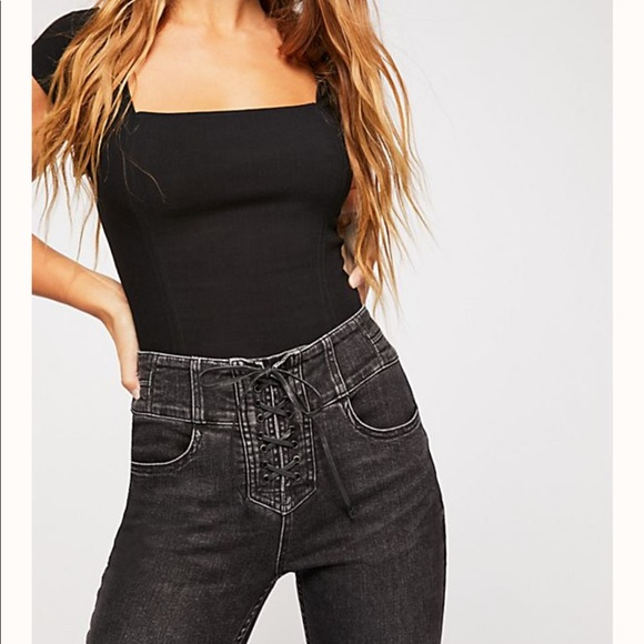 Free People Denim - Free people lace up skinny jeans